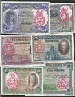 LOTE 6 BILLETES REPUBLICA PESETAS 1925 1931 RESELLO FALANGE JONS RARISIMO