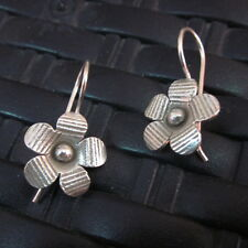 Sterling Silver 925 Earrings Handcraft Ethnic Artisan Flower Floral Cute Clover