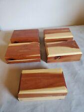 Lot Of 5 Small Handmade Cedar Trinket Boxes