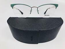 *New Prada VPR 65Q UEI-101 Green & Silver Eyeglasses 51/17/140 with Case