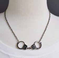 "Dark Grey Black hand cuffs necklace pendant 17-20"" long handcuffs crystals"