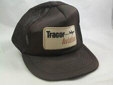 Tracor Aviation Patch Hat Brown Broken Closure Snapback Trucker Cap