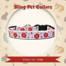 Kisses White and Red Cat Kitten or Small Dog Collar with Bell and Charm