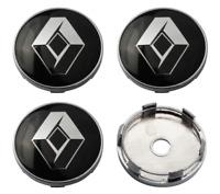 Schwarz 4 x 60mm Renault Chrome Alufelge Nabenkappen Nabendeckel Satz