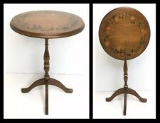 Vintage Tilt Top Table, 3 Leg Hand stenciled Painted Wooden Pa Dutch Style