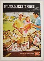 1970 Print Ad Miller High Life Beer in Cans 2 Men & Lady Drink Mugs of Beer