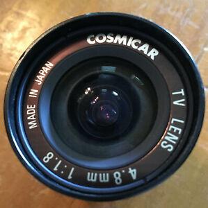Cosmicar CCTV Camera Lens 4.8mm 1:1.8 C418AX - Made in Japan