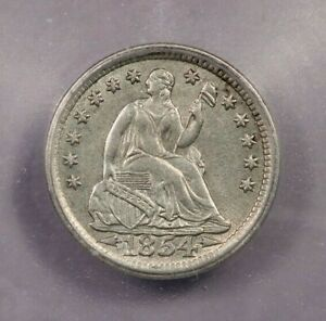 1854-P 1854 Liberty Seated Half Dime With Arrows H10C ICG AU58