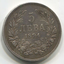 BULGARIA 5 LEVA 1894 KB SILVER FERDINAND I