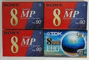 Lot of 4 New Sony P5-90MP Video 8 90 minute & TDK E-HG 90 minute Video Tapes