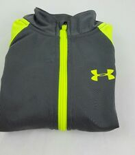 boy's  UNDER ARMOUR Gray Neon Yellow  zip up jacket  Size 4    (s1)