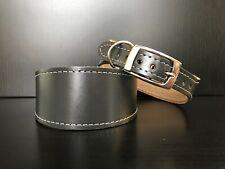 MEDIUM Leather Dog Collar LINED Greyhound Whippet Lurcher Saluki GRAPHITE