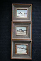 """3 Original Water Colours by Canadian Artist """"J.M. Robinson"""" - Oakville Ontario"""