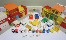 VTG Fisher-Price Little People VILLAGE  Main Street LOT Bridge Mail LOADED #997