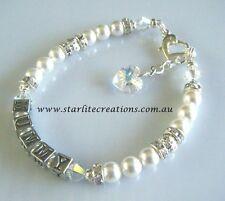 Ladies Personalised Swarovski Crystals & Pearls NAME Bracelet  custom made