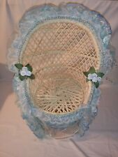 """Vintage 17"""" Wicker Baby Doll Chair Sky Blue Lace with Flowers"""