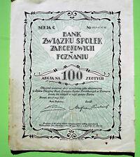 Aktie, Akcja,  Polen, Polsky, 100 Zlotych, Poznan, 1925