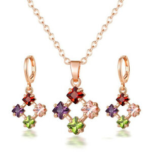 Jewelry Sets Square Amethyst Garnet Morganite Topaz Rose Gold Necklaces Earrings