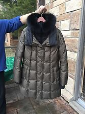 NEW $585 SOIA & KYO BALITA Moncler HOODED DOWN MILITARY GREEN COLOR COAT  Large