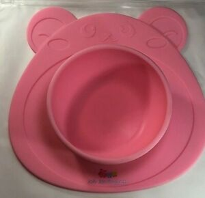 Babies Silicone Highchair Feeding Tray  Suction Bear Bowl non slip Mat Pink USED