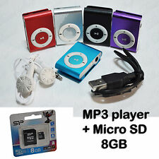 Kit mini lettore MP3+Micro SD 8GB Cuffie Multimedia USB