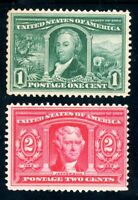 USAstamps Unused FVF US 1904 Louisiana Purchase Scott 323, 324 OG MVLH