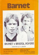 BARNET V BRISTOL ROVERS 19 NOV1983 Inc EXC 'GAS' Team pic. + NEWSPAPER REPORTS!