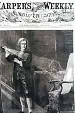 Issac Newton 1870 EXPERIMENTING w LIGHT SCIENTIST SCIENCE Antique Art Engraving