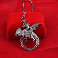 Sautoir-Collier Femme,Homme,Acier Noir,Game of Thrones Targaryen Dragon,Amulette