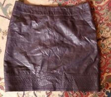 Anthropologie Vanessa Virginia vegan faux leather dark purple plum mini skirt 12