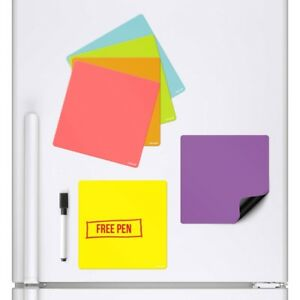 6x COLOURED SQUARES Magnetic Fridge Whiteboard Memo Board Drywipe Notice Board