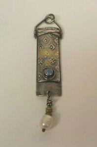 Custom Made Designer Sterling Silver Pendant, Opal & Pearl, Signed