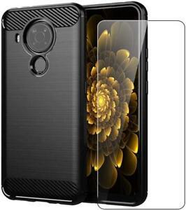 For Nokia 5.4 Case Carbon Fibre Gel Armour Shockproof Phone Cover + Screen Glass