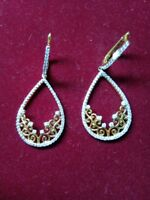0.2Ct Round Cut Diamond Chandelier Earrings in 18k Yellow Gold Over Prong D/VSS1