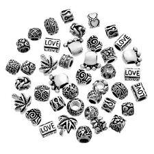 100Pcs Mixed Silver Tone Beads Fit Charm Bracelets