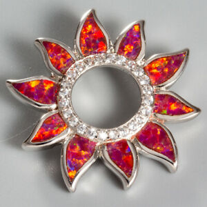 Ruby Red Fire Opal Sunflower Circle CZ Silver Jewelry Pendant for Necklace