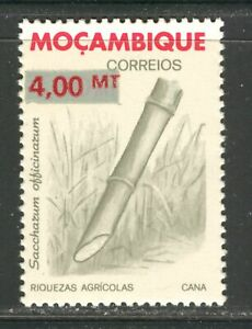 MOZAMBIQUE 1987, SUGAR CANE, EMERGENCY OVERPRINTED 4MT ON 4.50 MT Sc 1034A, MNH