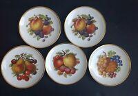 """(5) Mitterteich Bavaria Salad Dessert Plates 7 1/2"""" Fruit Motif Gold Trim"""