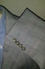 Bespoke 42L ERMENEGILDO ZEGNA Silk Gray Purple Plaid Jacket Blazer Sport Coat