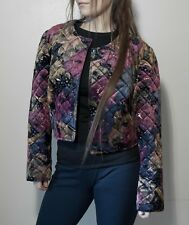 Women's Velvet Bordeaux Floral Quilted Silk Crop tampon Bomber Jacket 44 M L XL
