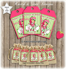 Strawberry Shortcake Birthday Party Personalised Thank You Tags X 12