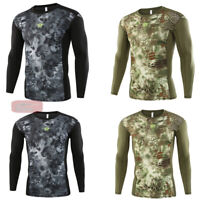 Mens Army Outdoor Combat T-Shirt Tactical Long Sleeve Quick Drying Hiking Casual
