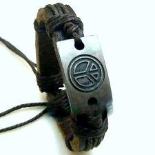Argent tibétain signe de la paix ethnique chanvre bracelet en cuir à breloques