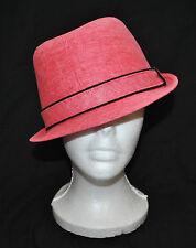 Pink w/ Black Trim Coachella Festival Boho Urban CHIC ~ Fedora Hat sz M/L