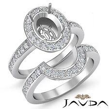 Diamond Engagement Pave Ring Oval Bridal Sets Platinum 950 Setting 1.4Ct