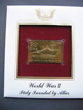 WWII Italy Invaded by Allies 1993 22kt Gold Golden Cover replica FDC FDI Stamp