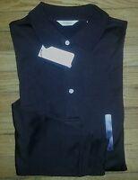 Turnbury Shirt Polo 100% Cotton XL Solid Dark Brown L/S NWT c777