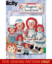 SEWING PATTERN! MAKE RAGGEDY ANN & ANDY DOLLS! 15~26~36 INCHES! SOFT~CLOTH TOYS!