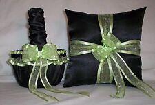 Black Satin / Light Mint Green Trim Flower Girl Basket & Ring Bearer Pillow