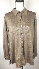 Cathy Daniels Women Herring Bone Long Sleeve Button Up Brown Shirt L 1/35H